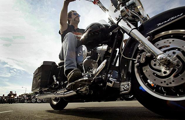 Biker Cruises Main Street