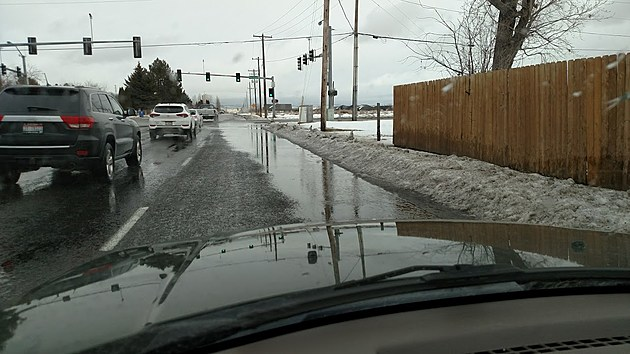 Potholes will become more evident with a thaw.  Courtesy, Bill Colley.