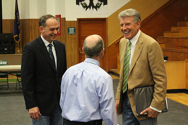 Gov. Otter chats with visitors Friday at Hansen High School, the site for March's 'Capital for a Day.' (Photo by Andrew Weeks)