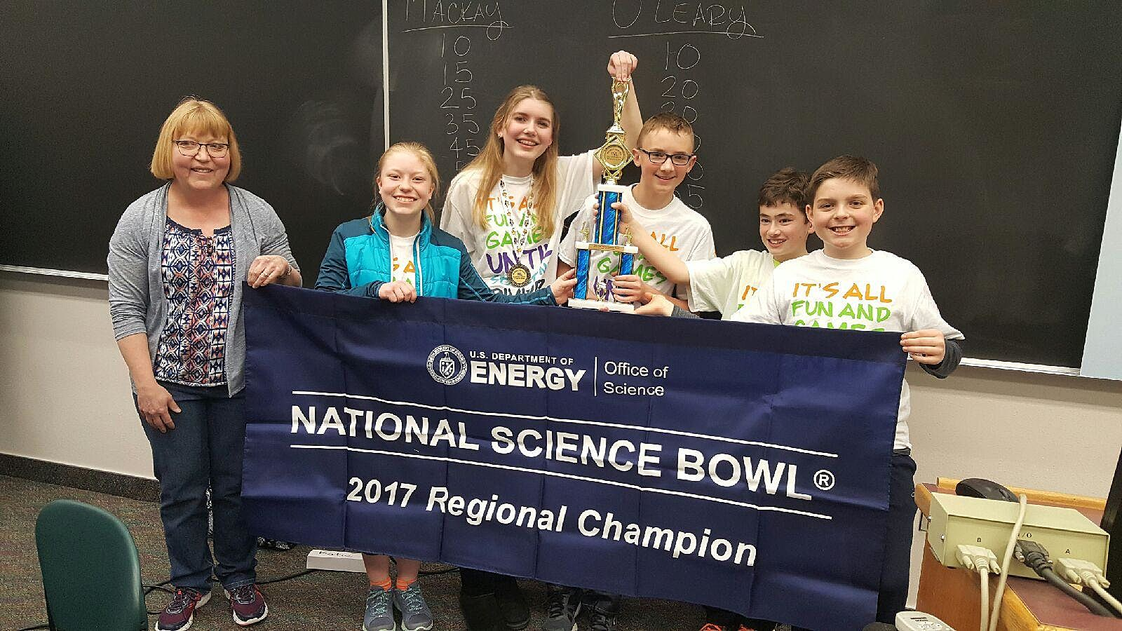 Students from O'Leary Middle School pose for a photo after learning that they'll be heading to Washington, DC. in April for the National Science Bowl. (Photo courtesy of the Twin Falls School District)