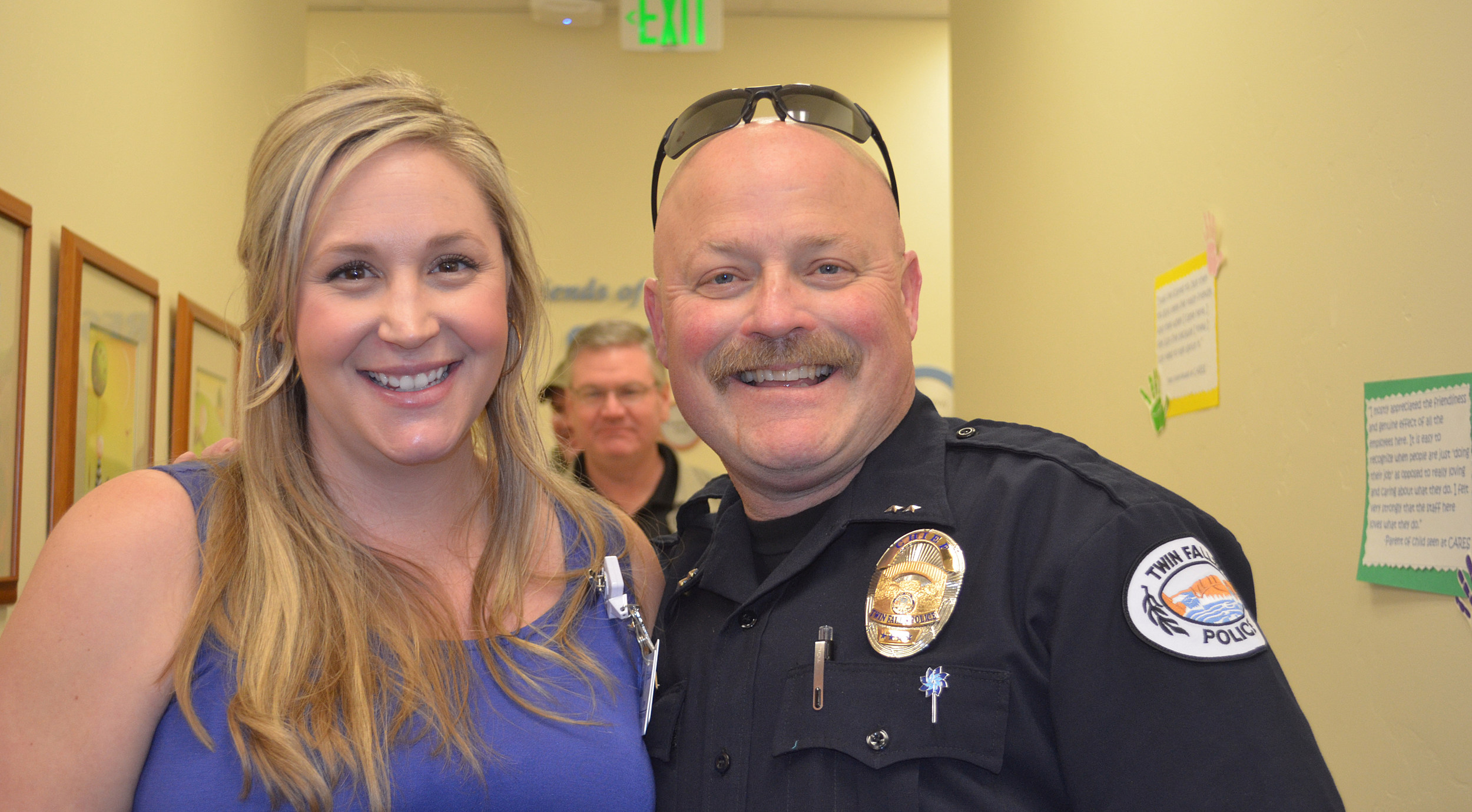 Anne Tierney, Coordinator, St. Luke's CARES Magic Valley, poses for a photo with Twin Falls Police Chief Craig Kingsbury. (Photo by Michelle Bartlome, St. Luke's Magic Valley)