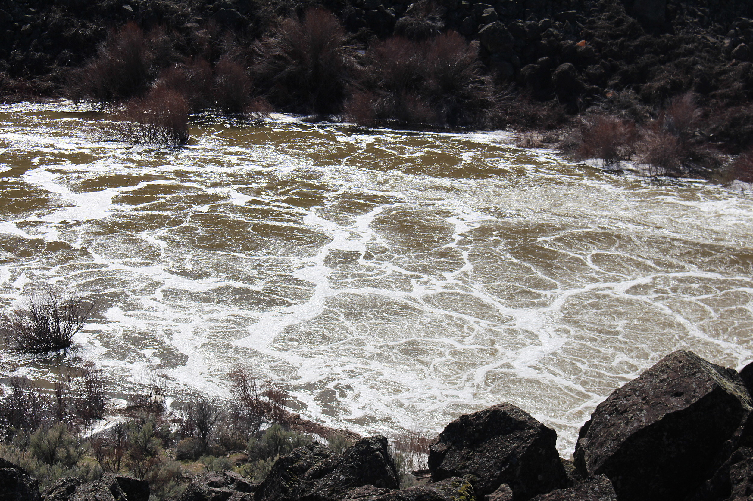 Water from the spillway at Magic Reservoir as seen in late March. (Photo by Benito Baeza)