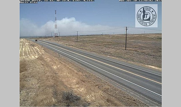 View of the Antelope Fire from Idaho Transportation Department Camera  atop Flat Top Butte. ITD