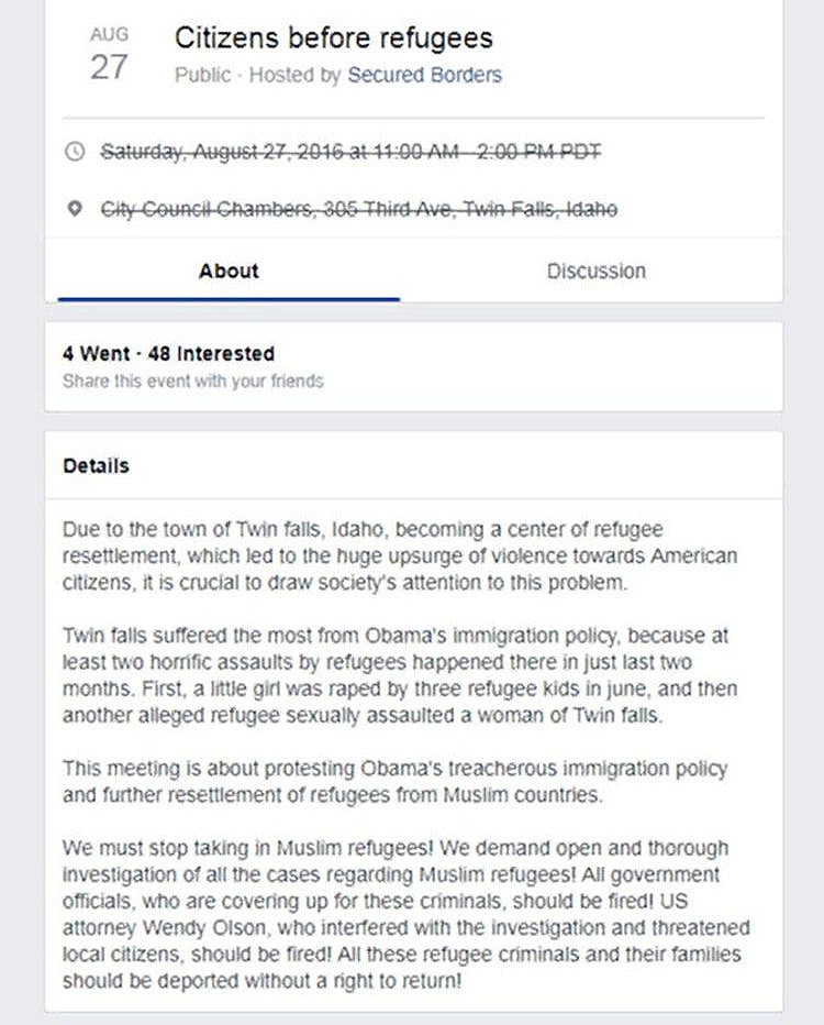 A partial screen shot of the cancelled Facebook page about an anti-immigrant rally targeting Twin Falls.
